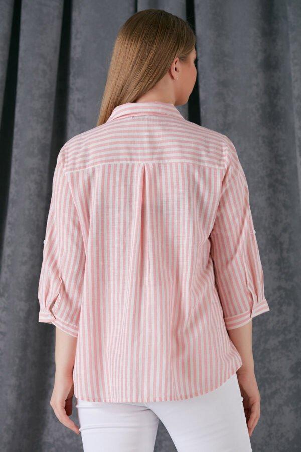 rožinės spalvos dryžuoti marškiniai