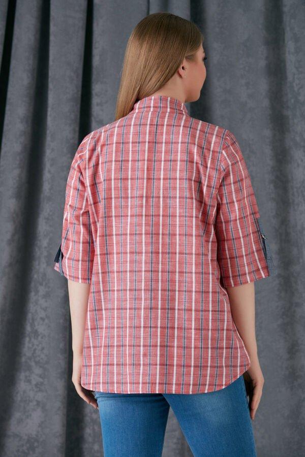 rausvos spalvos dryžuoti marškiniai
