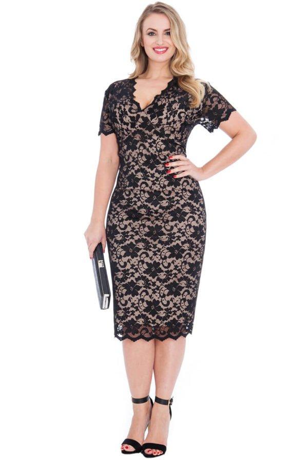 Nėriniuota midi ilgio suknelė