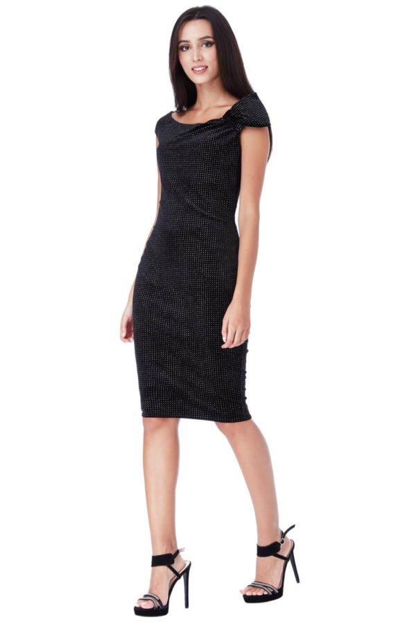 Blizgi aksominė midi suknelė juodos spalvos-01