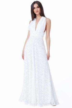Ilga nėriniuota suknelė baltos spalvos-01