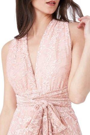 Ilga nėriniuota suknelė tamsiai rozinis spalvos-03