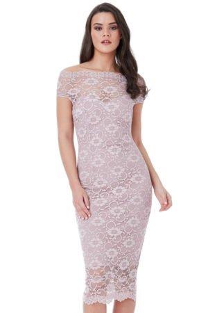 Nėriniuota prigludusi suknelė rausvos spalvos