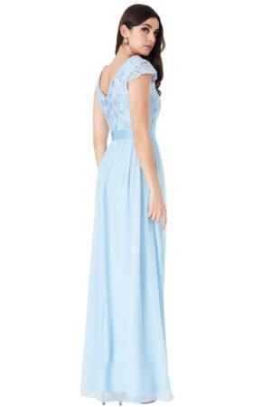 Ilga nėriniuota suknelė žydros spalvos 03