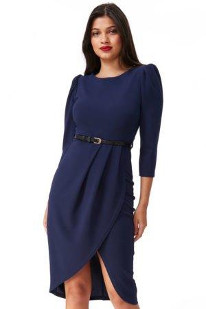 midi ilgio wrap suknelė mėlynos spalvos 2