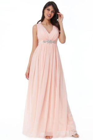Ilga rausva suknele