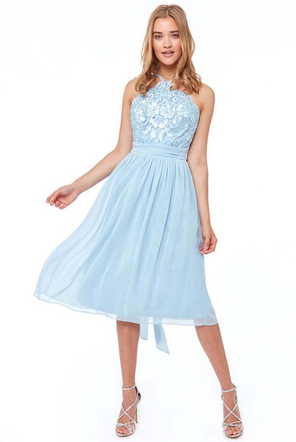 Midi šifoninė mėlyna suknelė